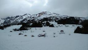 Ushuaia Mountain. Ushuaia - Argentina - Patagonia - Mountain Snow Tree - Laguna Esmeralda Stock Photo