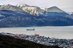 Ushuaia with Mountains. A view of Ushuaia with snowy mountains behind it Stock Photography