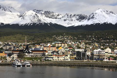 Ushuaia - Tierra del Fuego - Argentina. Port of Ushuaia in the Beagle Channel in Tierra del Fuego in southern Argentina. Ushuaia is the world's most southern stock images