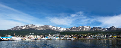Ushuaia viewed from Beagle channel Argentina Stock Images