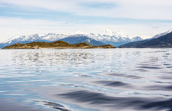 Ushuaia viewed from Beagle channel Stock Photo