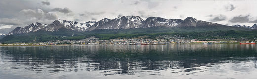 Ushuaia viewed from Beagle channel Argentina Royalty Free Stock Image