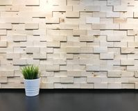 Usine artificielle verte contre le mur en bois texturisé moderne image stock