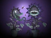 Usine carnivore dans l'obscurité illustration de vecteur