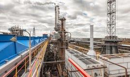Usine chimique pour la production du fertilisation à ammoniaque et à azote le temps de jour Images stock