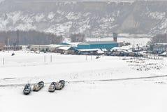 Usine d'élevage de poissons à la saison d'hiver Images stock