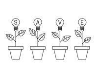 Usine d'ampoule de lampe dans le pot Concept croissant d'idée Sauf la planète illustration de vecteur