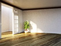 Usine dans la salle vide, 3d Photo stock