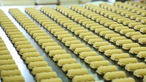 Usine de confiserie pour la production des biscuits banque de vidéos
