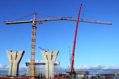Usine de construction, construction de grue à tour, se relier externe Images stock