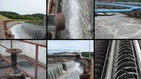 Usine de nettoyage des eaux usées d'eaux d'égout waterworks Collage de longueur banque de vidéos