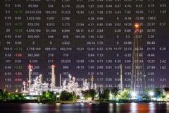 Usine de raffinerie de pétrole, indice des prix d'actions de pétrole brut photographie stock