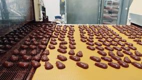 Usine de sucrerie Convoyeur avec des bonbons au chocolat banque de vidéos
