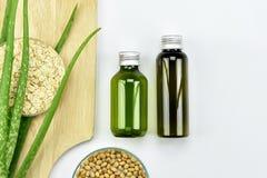 Usine de Vera d'aloès, produit de beauté naturel de soins de la peau Récipients cosmétiques de bouteille avec les feuilles de fin Image libre de droits
