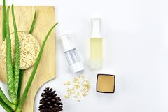 Usine de Vera d'aloès, produit de beauté naturel de soins de la peau Récipients cosmétiques de bouteille avec les feuilles de fin Photo libre de droits