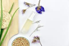 Usine de Vera d'aloès, produit de beauté naturel de soins de la peau, récipients cosmétiques de bouteille avec les feuilles de fi Images libres de droits