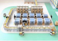 Usine futée équipée de l'AGV, du transporteur de robot, des imprimantes 3D et du système robotique de cueillette illustration de vecteur