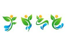 Usine, les gens, l'eau, ressort, naturel, logo, santé, le soleil, feuille, botanique, écologie, vecteur de scénographie d'icône d Image libre de droits