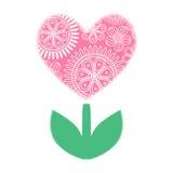 Usine rose de coeur avec l'ornement floral illustration libre de droits
