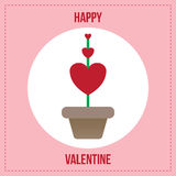 Usine rouge de coeur dans le pot de fleurs Photo libre de droits