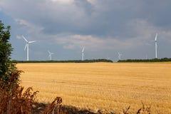 Usines d'énergie éolienne dans la région Bulgarie de Dobrudja Image libre de droits