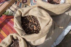 Usines de fines herbes sèches dans des sacs dans des sacs Photo stock