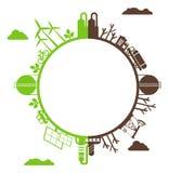 Usines polluées et favorables à l'environnement de planète de silhouette Images stock