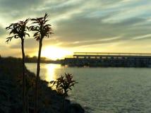 Usines silhouettées au coucher du soleil. Photo stock