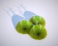 Usines stylisées d'énergie éolienne Photographie stock libre de droits
