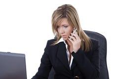 Usiness Frau auf dem Schreibtisch Lizenzfreies Stockfoto