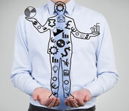 Usinessman with money icons Stock Images
