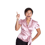 Usinesswoman pointing up when an idea struck. Stock Photos