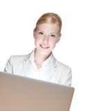 Usinesswoman sitting with laptop, isloated Royalty Free Stock Images
