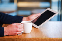 Using advantages of free Wi-Fi. Stock Photos