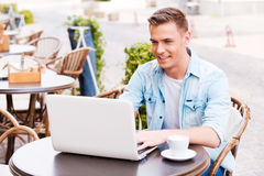 Using advantages of free Wi-Fi. royalty free stock images