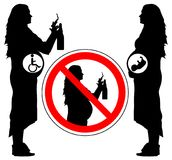 Using alcohol and smoking cigarette of pregnancy woman can lead to disability of baby, vector.  Stock Photos