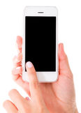 Using an app on smart phone Royalty Free Stock Photos