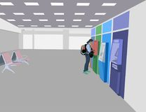 Using an ATM in the Airport passenger room. One girl using an ATM in the Airport passenger room scene vector technology background Royalty Free Stock Photography