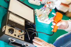 Using a Biothesiometer Stock Photo