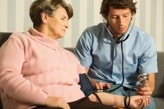 Using blood pressure gauge Royalty Free Stock Photo
