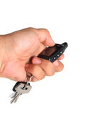Using car alarm key Royalty Free Stock Photos