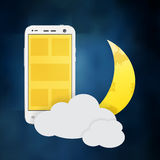 Using cellphone at night vector Royalty Free Stock Image
