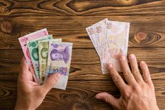 Using Chinese Yuan to pay instead of Turkish lira royalty free stock photo