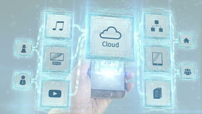 Using cloud computing services from mobile devices scheme concept. White background. Using cloud computing services, human hands finger touching screen of stock footage