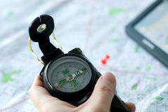Using compass map and GPS Stock Image