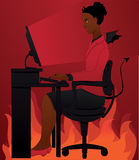 Using computer with bad conscience. Devil woman browsing the net with evil intentions. Flames are burning under her office desk and chair royalty free illustration