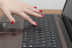 Using computer keyboard Stock Image