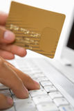 Using credit card for online transaction Royalty Free Stock Images