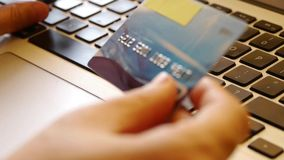 Using Credit Card For Shopping Internet Shop. stock footage