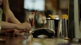 Using Credit Card Terminal stock video footage